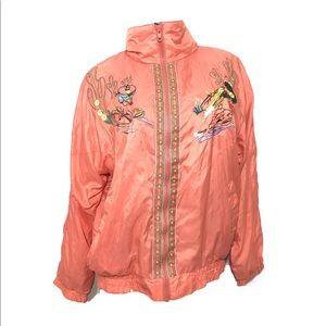 Vintage 1990s Cactus Embroidered Pink Jacket
